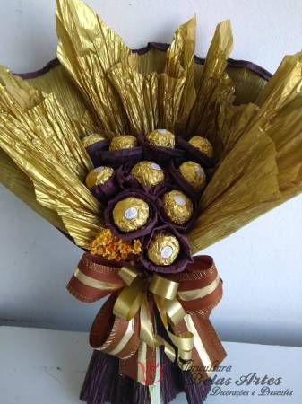 Bouquet de Chocolates Ferrero Rocher Amarelo Chocolates